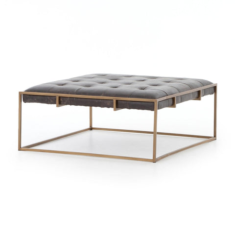Royce black leather brass iron modern coffee table square