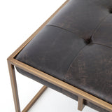 Royce black leather brass iron tufted coffee table square