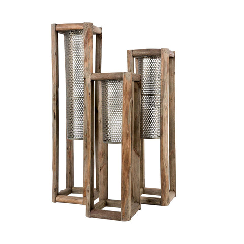 Braxton Lantern wood metal accessories decor set