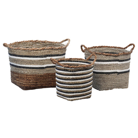 banana sea grass set of three willow baskets