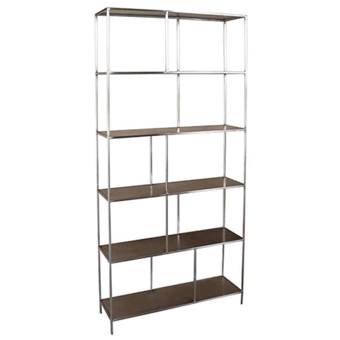 Menlo Bookshelf silver metal frame brown wood shelving modern design
