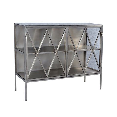lina cabinet glass nickel 2 doors x detail