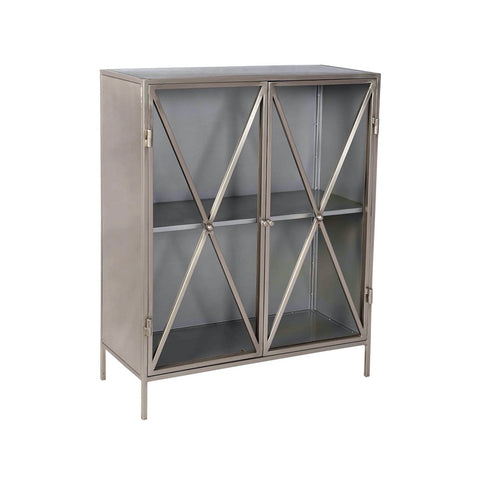 Lina Cabinet nickel metal frame glass cabinets x style design