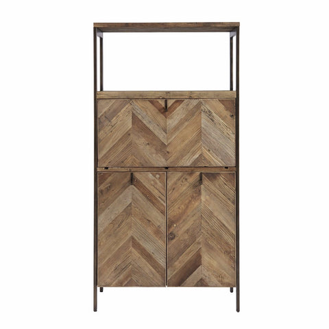 Wallace elm wood bar cabinet