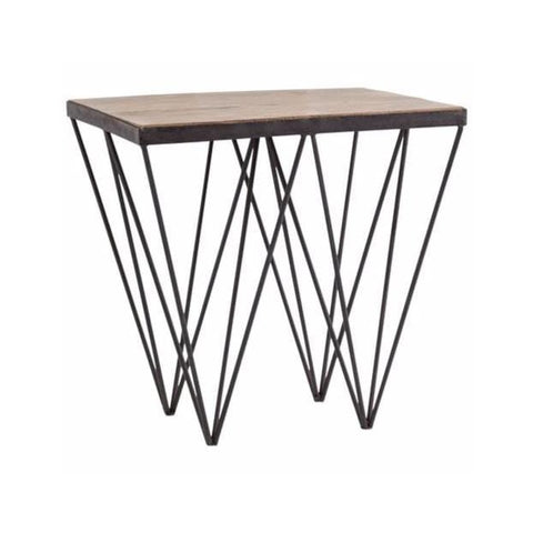 Spike end table mango wood iron