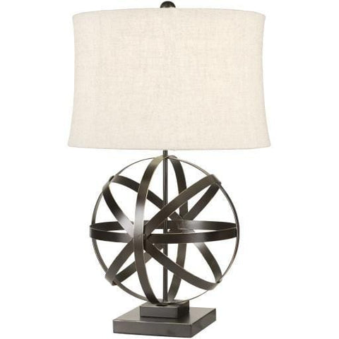Starick table lamp bronze linen shade circular