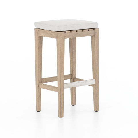 stafford white upholstery teak bar stool