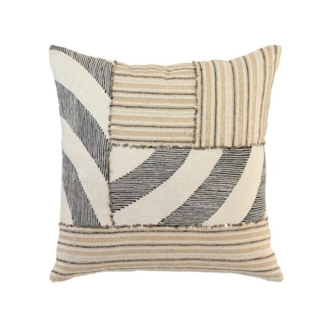 patchwork black ivory stripe pillow