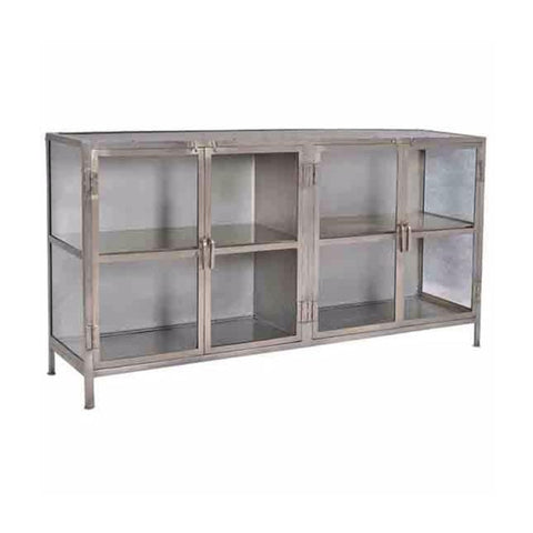 summit grey nickel metal glass sideboard