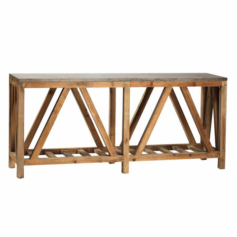 Caputo Console Table grey bluestone top brown wood frame