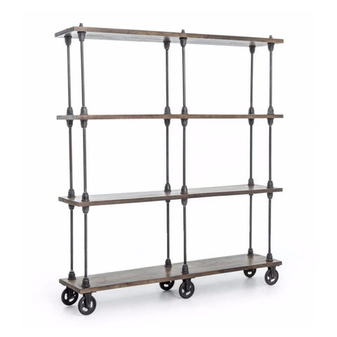 Vollmer industrial mango wood iron bookshelf