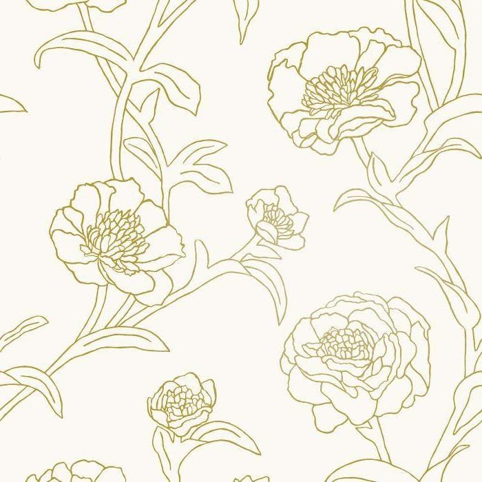 Gold Peonies Wallpaper