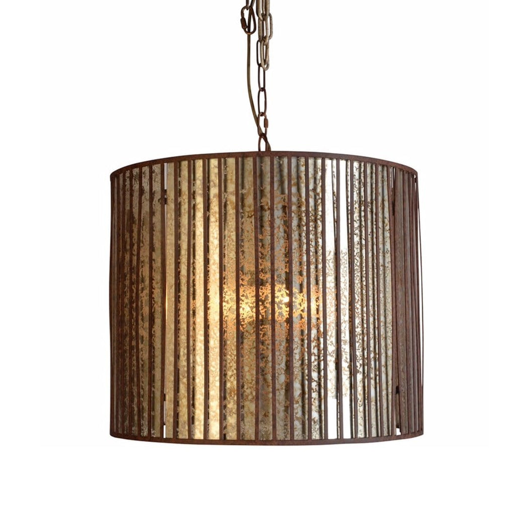 Warner rust metal glass chandelier