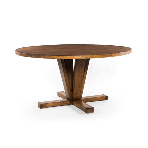 Warren round reclaimed wood dining table