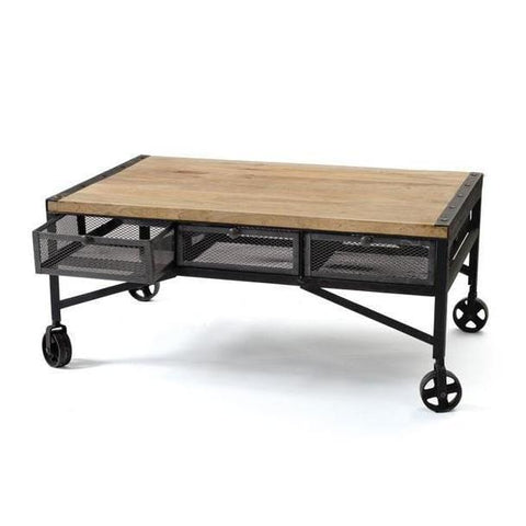 Wheeler iron wood wheels coffee table