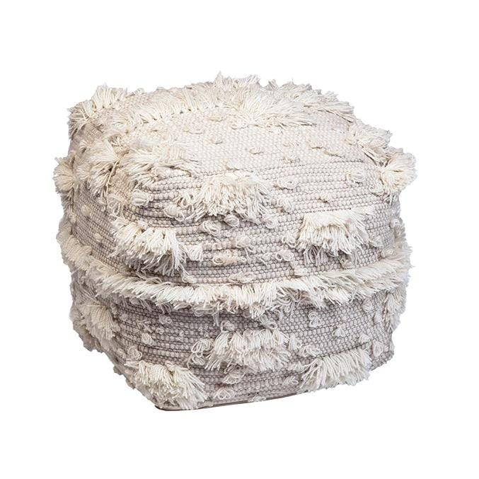 white wool fringe pouf