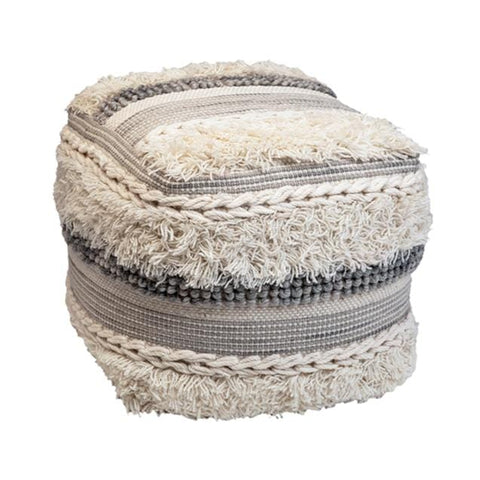 grey white wool braiding fringes pouf