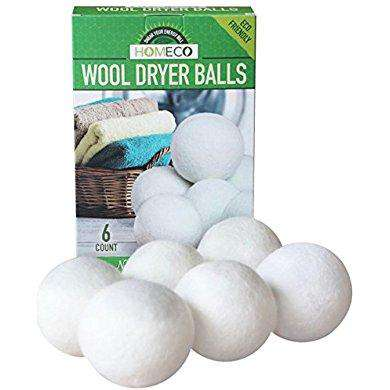 Wool Dryer Balls, 6-Pack Extra Large 100% Wool, Natural