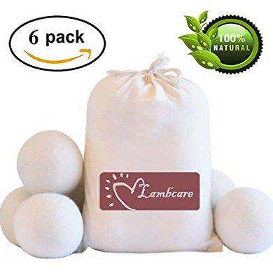 Wool Dryer Balls 6 Pack XL, Natural Clothes Laundry