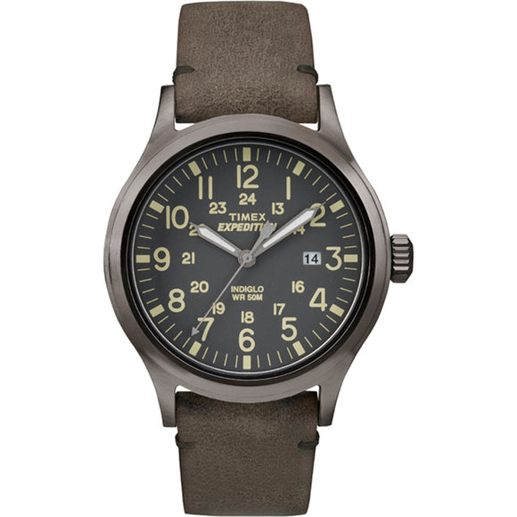 Timex Expedition Scout Metal - Brown Leather/Gray Dial [TW4B017009J]