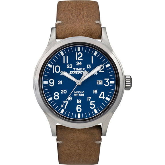 Timex Expedition Metal Scout - Tan Leather/Blue Dial [TW4B018009J]