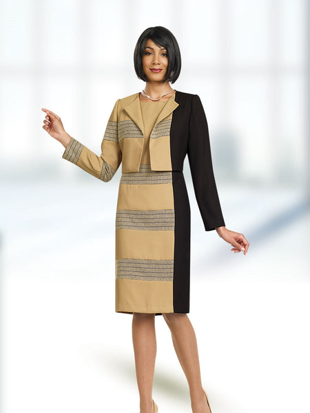 Ben Marc Executive 11457 Color Block 2pc Jacket Dress