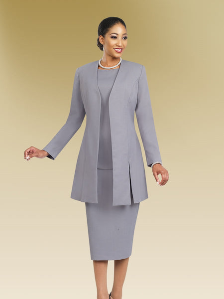 Ben Marc 2296 Long Open Jacket with Shell and Skirt - 3pc Suit