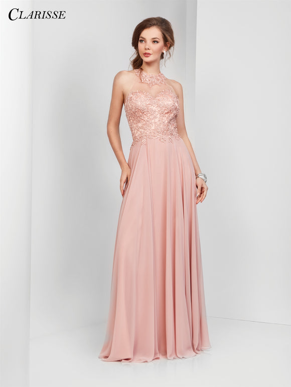 Clarisse Clarisse 3528 Embroidered Bodice Chiffon Dress