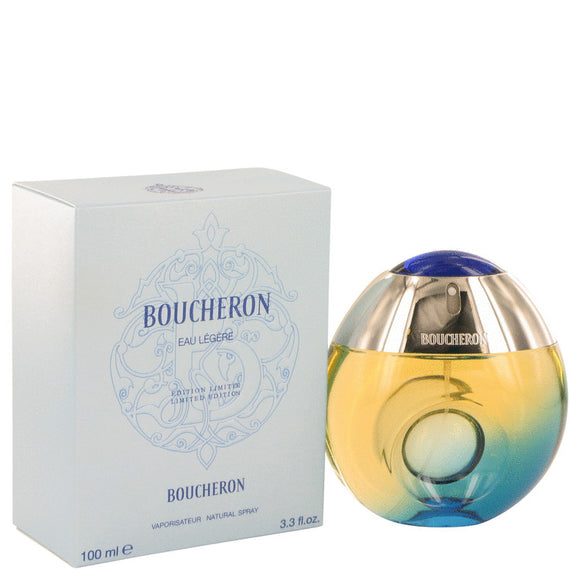 Boucheron Eau Legere by Boucheron Eau De Toilette Spray (Blue Bottle, Bergamote, Genet, Narcisse, Musc) 3.3 oz for Women