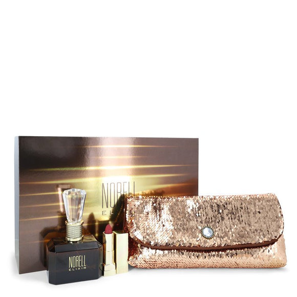 Norell Elixir by Norell Gift Set -- 3.4 oz Eau De Parfum Spray + .12 oz Lipstick + Free Evening Bag for Women
