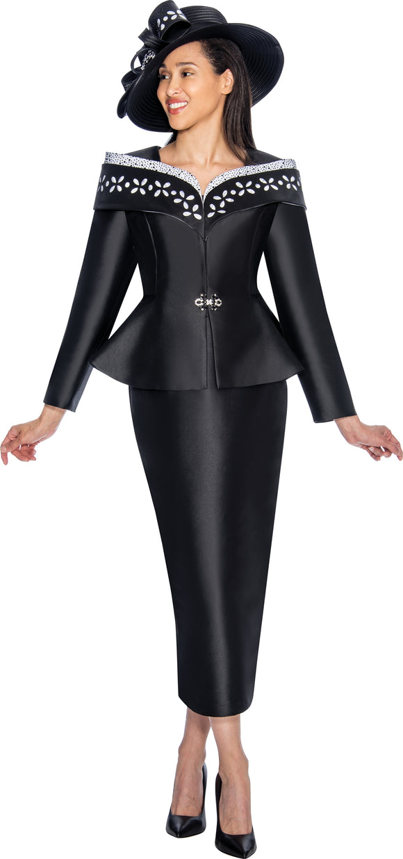 GMI 6912 Peplum Over Shoulder Collar Suit