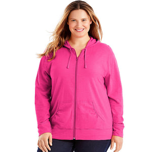 Just My Size Slub-Cotton Full-Zip Women's Hoodie Style: OJ168-Amaranth 3X