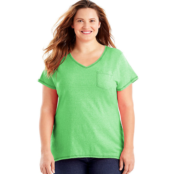 J M S-Just My Size X-Temp  Short-Sleeve V-Neck Women's Pocket Tee Style: OJ225-Neon Lime Heather 5X