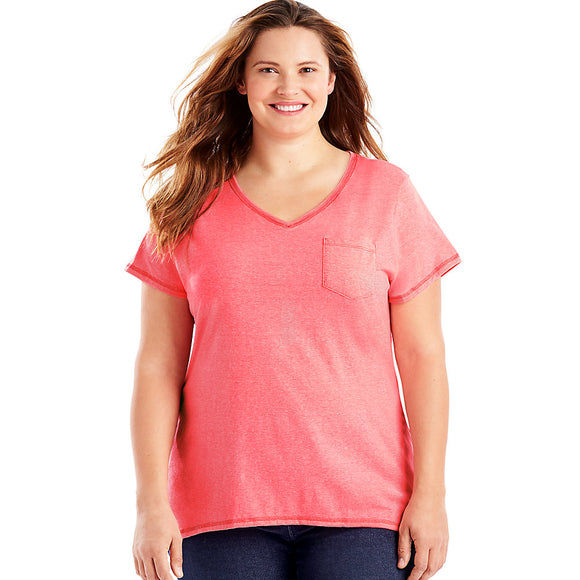 J M S-Just My Size X-Temp  Short-Sleeve V-Neck Women's Pocket Tee Style: OJ225-Neon Pinkpop Heather 1X