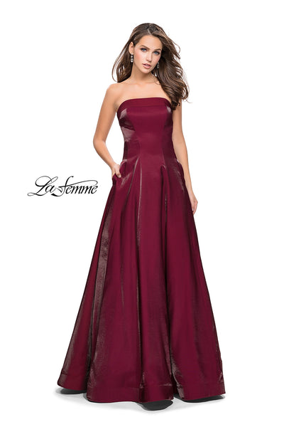 La Femme 25638 Strapless Jersey Ball Gown