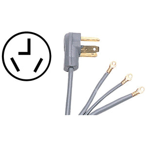 Certified Appliance Accessories Certified Appliance Accessories 90 1020 3 Wire Closed Eyelet 30 Amp Dryer Cord, 4ft