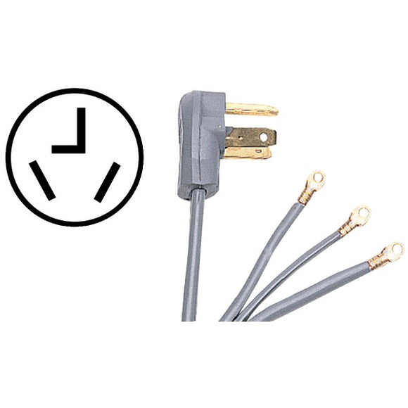 Certified Appliance Accessories Certified Appliance Accessories 90 1022 3 Wire Closed Eyelet 30 Amp Dryer Cord, 5ft