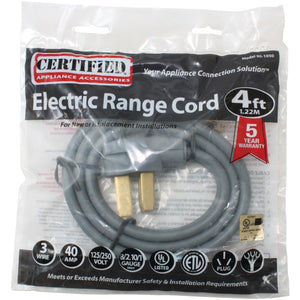 Certified Appliance Accessories Certified Appliance Accessories 90 1050 3 Wire Open Eyelet 40 Amp Range Cord, 4ft
