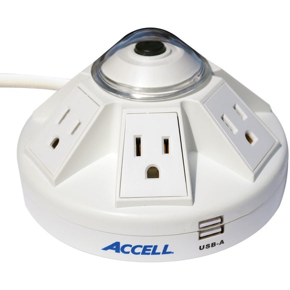 Powramid(R) 6-Outlet Power Center with Surge Protection and USB Charging Station (White)