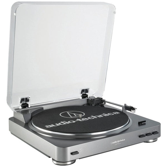 audio technica at lp60 fully automatic belt drive turntable silver