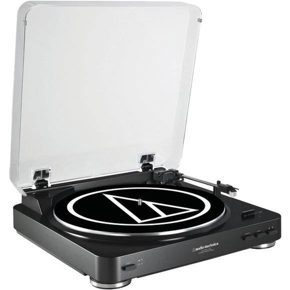 audio technica at lp60bk usb fully automatic belt drive usb analog stereo turntable black
