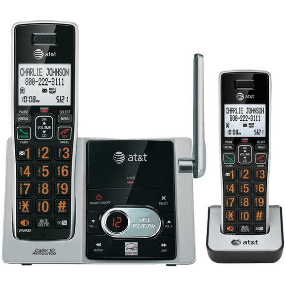 at t attcl82213 cordless answering system with caller id call waiting 2 handset system