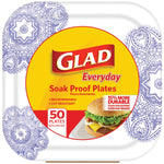"Glad(R) BBP0096 8.5"" Paper Plates, 50-ct (Square, Purple Victorian)"