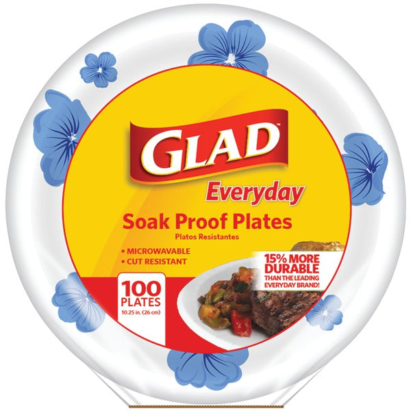 "Glad(R) BBP0099 10.25"" Paper Plates, 100-ct (Round, Blue Flower)"