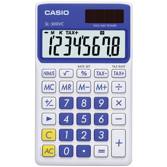 Solar Wallet Calculator with 8-Digit Display (Blue)