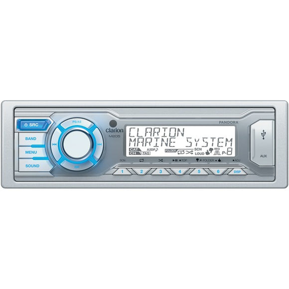 Clarion Clarion M205 Marine Single DIN In Dash USB MP3 WMA Receiver with Pandora Internet Radio