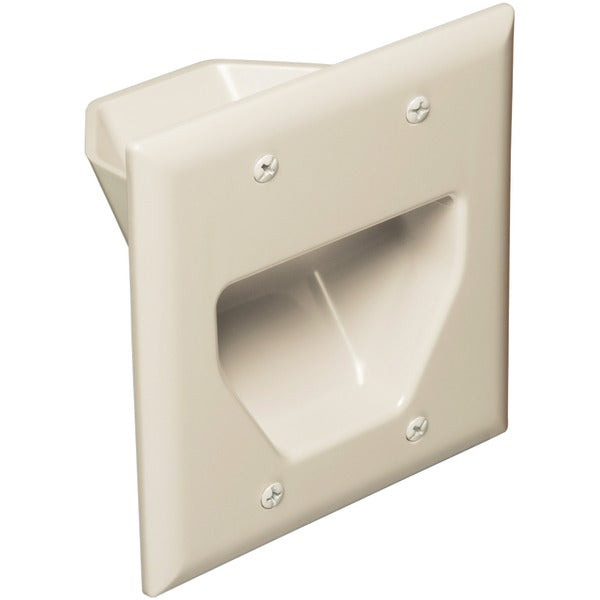 DataComm Electronics 45-0002-LA 2-Gang Recessed Cable Plate (Light Almond)