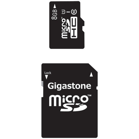 Gigastone(R) GS-2IN1C1008G-R Class 10 UHS-1 microSDHC(TM) Card & SD Adapter (8GB)