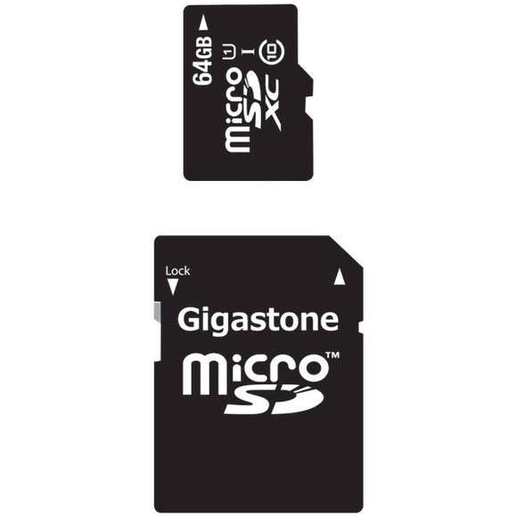 Gigastone(R) GS-2IN1X1064G-R Class 10 UHS-1 microSDHC(TM) Cards & SD Adapter (64GB)