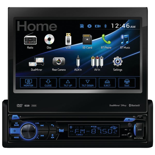 "Dual(r) Dual(R) DV737MB 7"" Single DIN In Dash DVD Receiver with Motorized Touchscreen, Built in Bluetooth(R), 2 Way DualMirror(TM) & HDMI(R) Input"